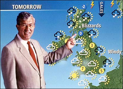 Bill Giles with the old-style BBC weather forecast symbols