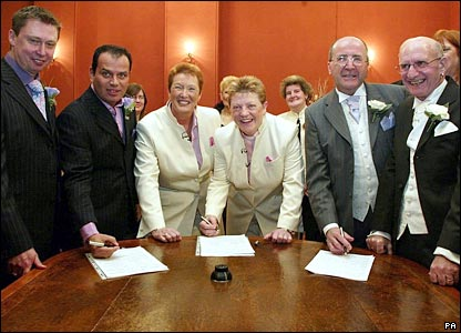 "Three gay couples ""marry"" in Brighton on the first day of civil partnership ceremonies"