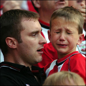 Southampton fan in tears after relegation