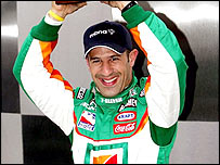 Tony Kanaan celebrates grabbing pole for the Indy 500