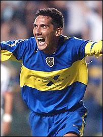 Boca Juniors Diego Cagna celebrates scoring