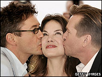 Robert Downey Jr, Michelle Monaghan and Val Kilmer (r)