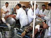 Soldiers in hospital in Iraq on Monday