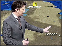 Alex Deakin with the new look BBC Weather map