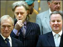 From left: Presiding Officer George Reid, Bob Geldof and First Minister Jack McConnell