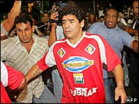 Diego Maradona during a charity match in Brazil