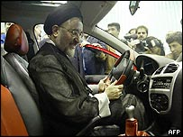 President Khatami testing a new Peugeot 206 in Teheran