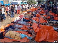 Bodies on the street in Banda Aceh, Sumatra, following the tsunami on 26 December
