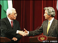 Palestinian leader Mahmoud Abbas and Japanese Prime Minister Junichiro Koizumi