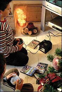 Children playing on a GameCube