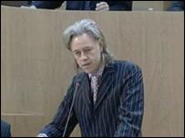 Bob Geldof speaking in the Scottish Parliament