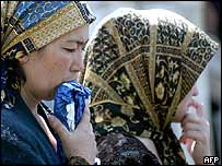 Women in Andijan wait for news of their relatives