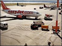 Easyjet plane at John Lennon Airport