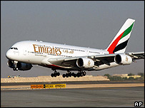 Airbus A380 with Emirates livery