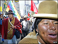 A protest in La Paz, Bolivia, on 16 May 2005