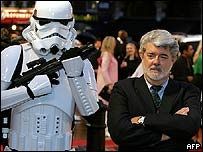 Star Wars creator George Lucas with a Stormtrooper