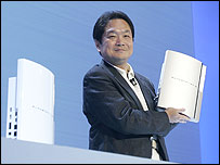 Sony's Ken Kutaragi shows off the new PlayStation 3
