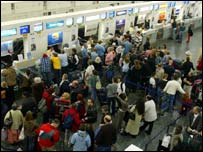 Crowds at Gatwick