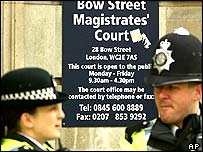 Police outside Bow Street magistrates'
