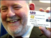 Home Secretary Charles Clarke with an identity card