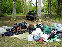 Bags of rubbish in Denge Wood (Forestry Commission)