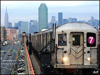The number 7 train returns to service in Queens, New York