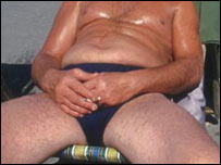Man sunbathing