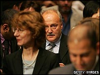 George Galloway sits in the Senate hearing