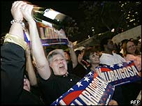 A supporter of Antonio Villaraigosa celebrates in Los Angeles