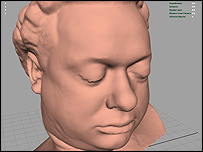 Initial 3D image of Dylan Thomas (Courtesy of iCreate Ltd)