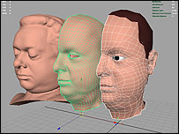 Three stages in creation of virtual Dylan Thomas (Courtesy of iCreate Ltd)