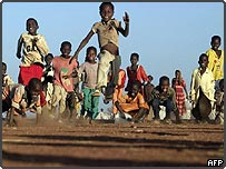 Children running and playing in Sudan