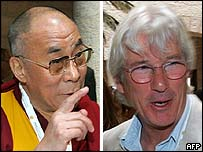 The Dalai Lama (l) and actor Richard Gere