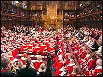 House of Lords during the Queen's Speech, when peers wear robes