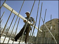 A builder at work in Efrat