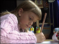 Girl writing a letter