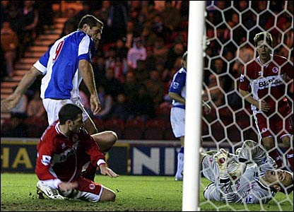 Shefki Kuqi tucks in his, and Blackburn's, second goal against Middlesbrough