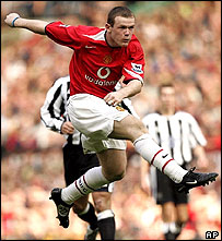 Manchester United's Wayne Rooney scores against Newcastle, 24 April 2005     Image: AP