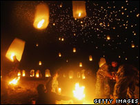 Lanterns are released on Bang Niang beach
