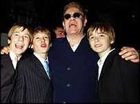 Sir Elton John with actors in the new Billy Elliot stage musical