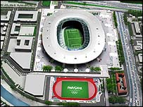 An impression of how Paris' Olympic stadium would look in 2012