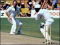 Eddie Barlow bowls to Clive Lloyd
