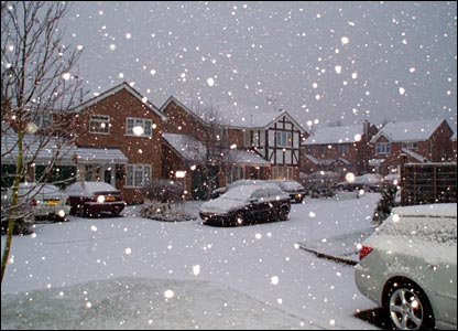 Snow falling in Grantham. Parts of Lincolnshire saw heavy snowfall on