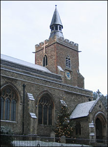 Snow covering St James' Church, Colchester