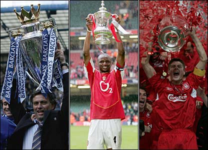Jose Mourinho lifts the Premiership trophy, Patrick Vieira with the FA Cup, Steven Gerrard holds aloft the European Cup