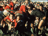 Lions scrum-half Gareth Edwards is tackled by All Blacks flanker Alan McNaughton in 1971