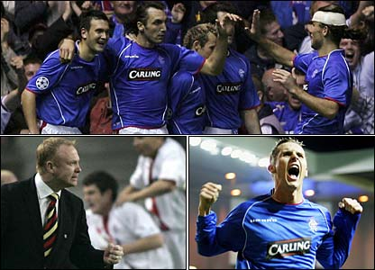(Clockwise left to right) Sotirios Kyrgiakos celebrates his winning goal against Porto, Peter Lovenkrands is ecastatic after his goal against Inter and Alex McLeish after the draw away at Porto