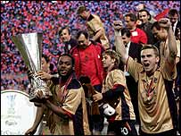 CSKA Moscow celebrate their Uefa Cup triumph