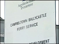 Ferry service sign