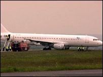 Plane at end of runway at Leeds Bradford Airport
